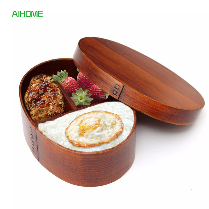 BPA Free Natural Wood Lunch Box Wooden Bento Lunchbox Food Container Japanese Travel School Camping Lunch Box