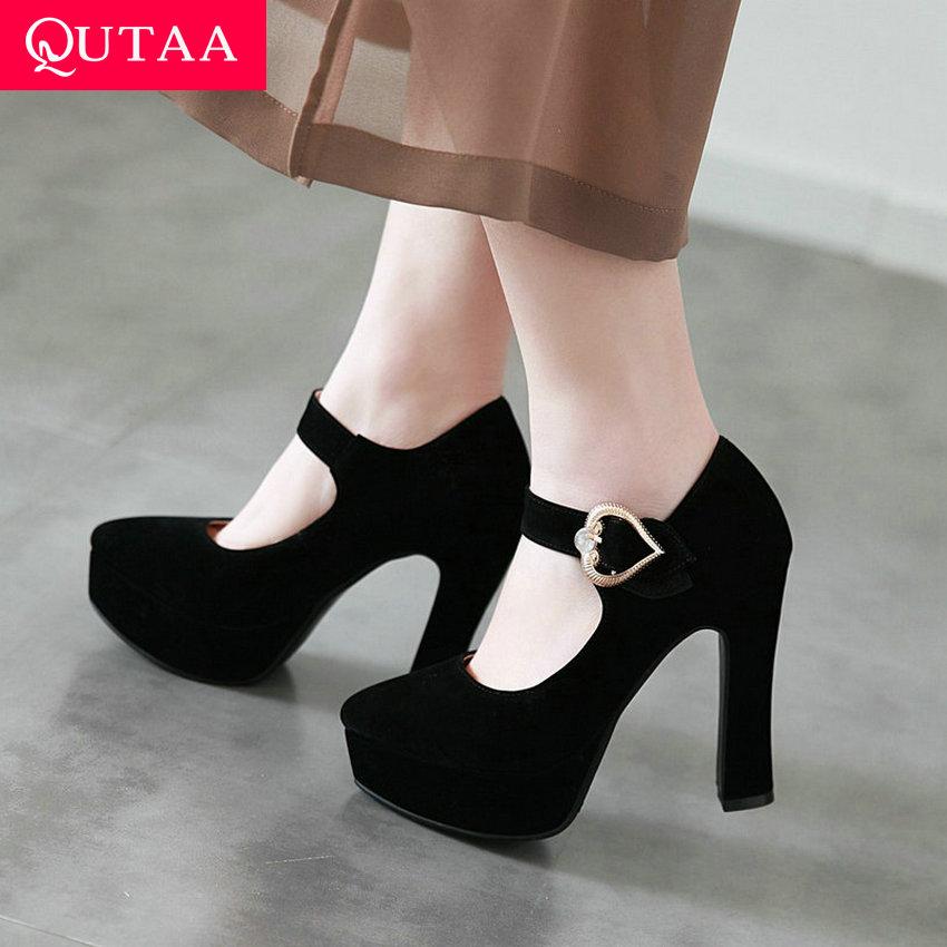 100% QualitäT Qutaa 2019 Frauen Pumpen Mode Frauen Schuhe Plattform Platz High Heel Spitz Alle Spiel Frühjahr Damen Pumps Größe 34 -43 GroßE Vielfalt