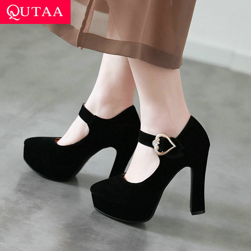 QUTAA 2020 Women Pumps Fashion Women Shoes Platform Square High Heel Pointed Toe All Match Spring Ladies Pumps Size 34-43