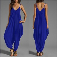2017 Summer Women Harem Romper Jumpsuit Coveralls Playsuit With Spaghetti Strap And Deep V Neck Body