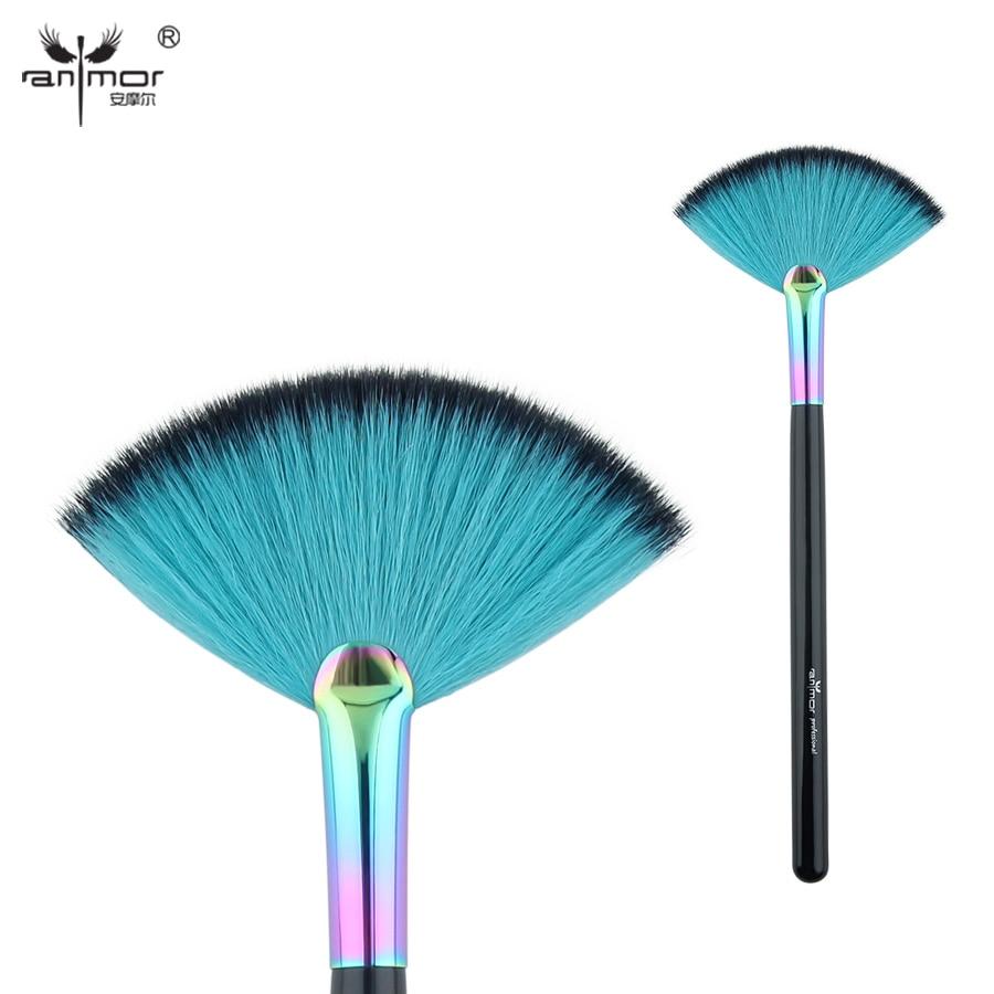 Anmor Professional Makeup Brush Fan Shape Powder Make Up Brushes with Rainbow Color Ferrule CFCA-A23 fan makeup brush set 9pcs rainbow diy