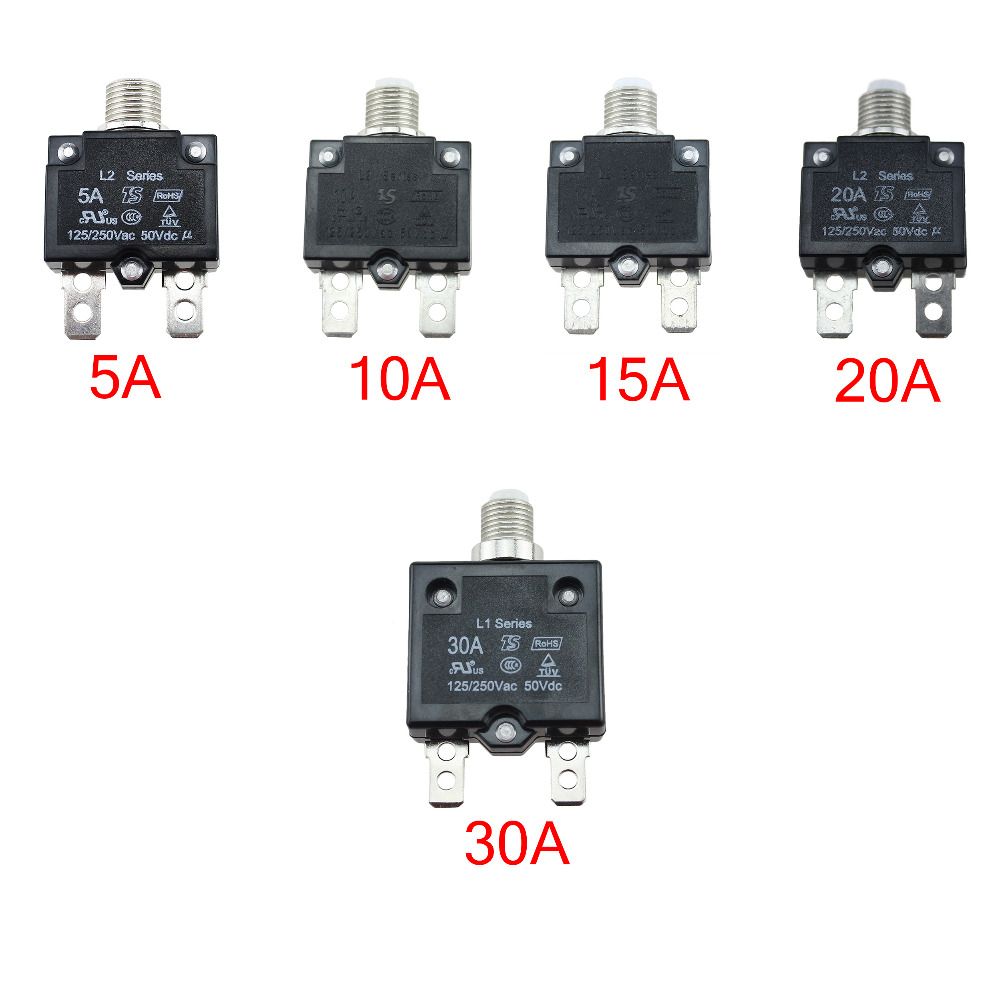 IZTOSS 20 Amp Circuit Breakers with manual reset DC50V AC125-250V with Quick Connect Terminals