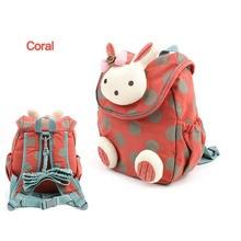 2017 nuevo bolso de escuela del estilo animal de la manera 3d lindo conejo de la felpa del morral del lazo niños mochilas para niñas bolsa de jardín de infantes