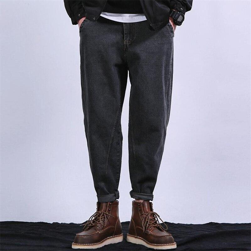 Mairuker Store 2017 Autumn Men Fashion Denim Harem Pant European And American Style Loose Vintage Denim Pant Solid Color Pockets Trousers A3997