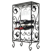 Unique Metal Wine Rack 16 Bottle And 8 Wine Glass Grapevine Motif Wine Storage Organizer Display