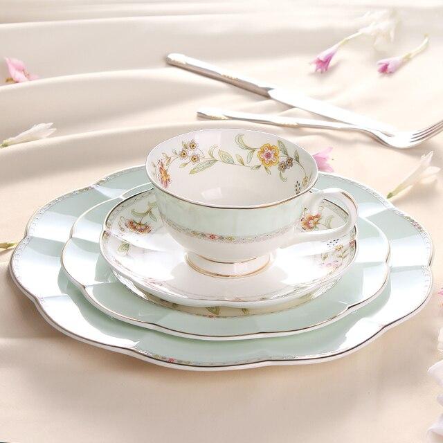 2017 Newly Bone china Dinnerware Sets 8 And 10 Inch Plates Coffee Cup Saucer Sets 4 & 2017 Newly Bone china Dinnerware Sets 8 And 10 Inch Plates Coffee ...