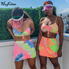 Hugcitar spaghetti straps tie dye print sexy camis skirt two 2 piece set 2019 summer women fashion party club holiday tracksuit