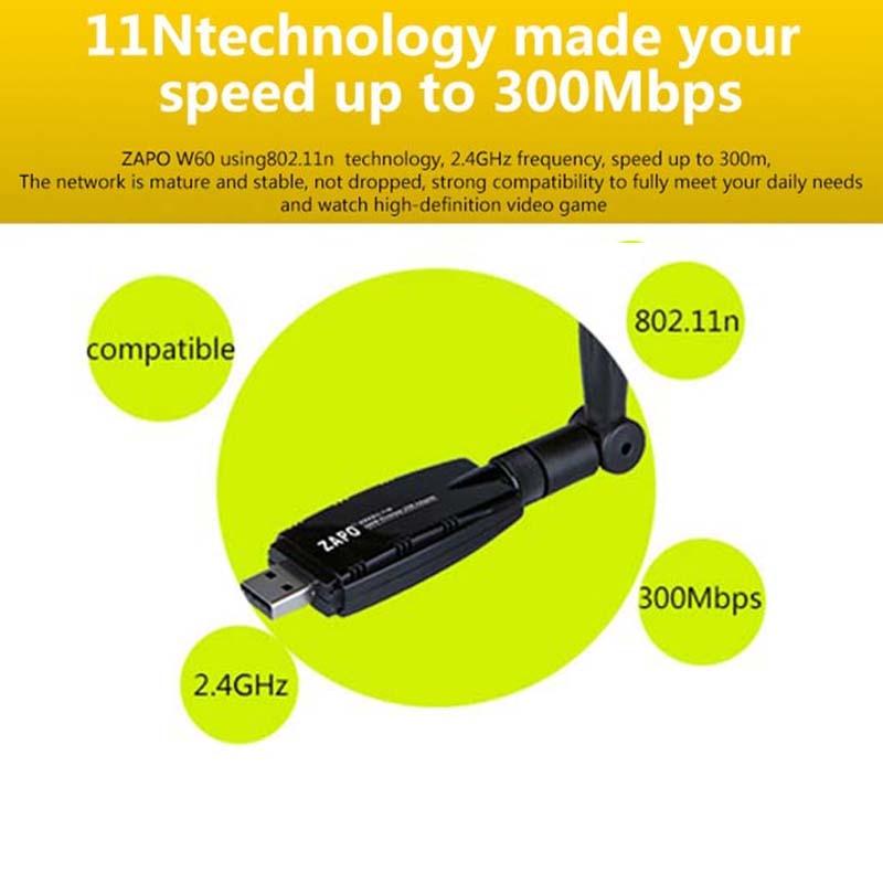 ZAPO 2.4G WIFI USB 300Mbps Lan Adapter Bezprzewodowy odbiornik - Sprzęt sieciowy - Zdjęcie 6