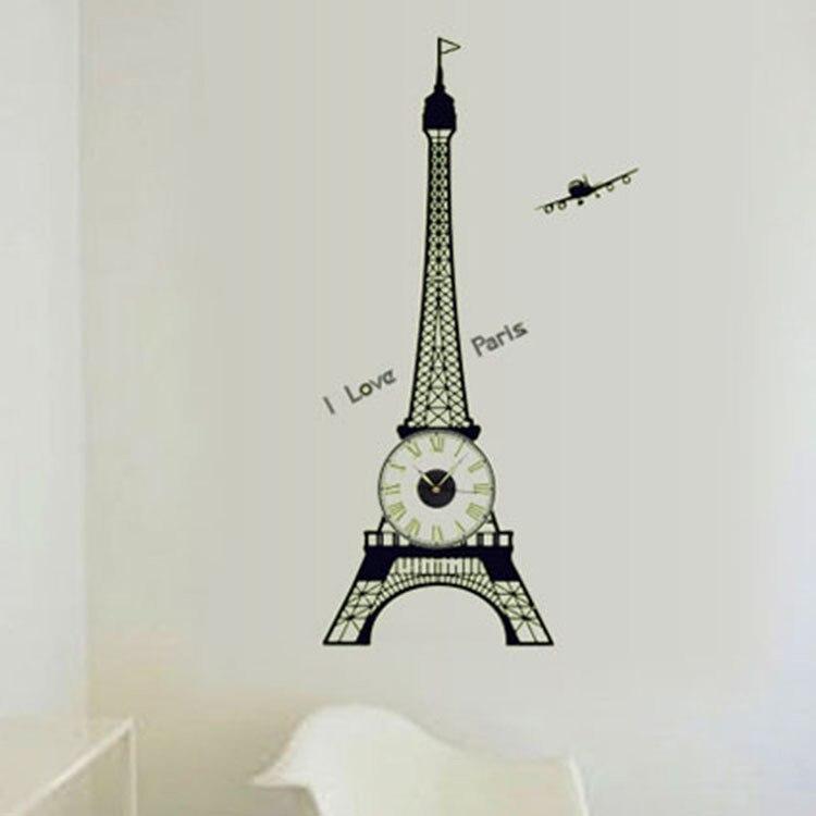 DIY Creative Luminous Big Eiffel Tower Clock Wall Stickers Vinyl Mural Art Decal for Living Room Kids Room Wallpaper Home Decor