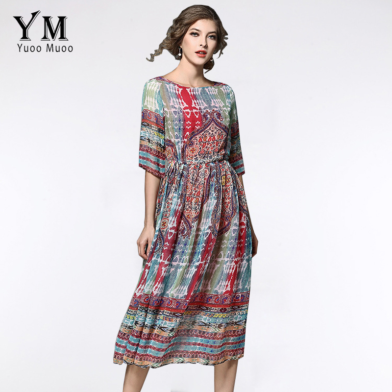 YuooMuoo New Summer Casual Bohemian Women Chiffon Dress Printed Half-Sleeve  Mid-Calf Loose Dresses 5ca17ea2c275