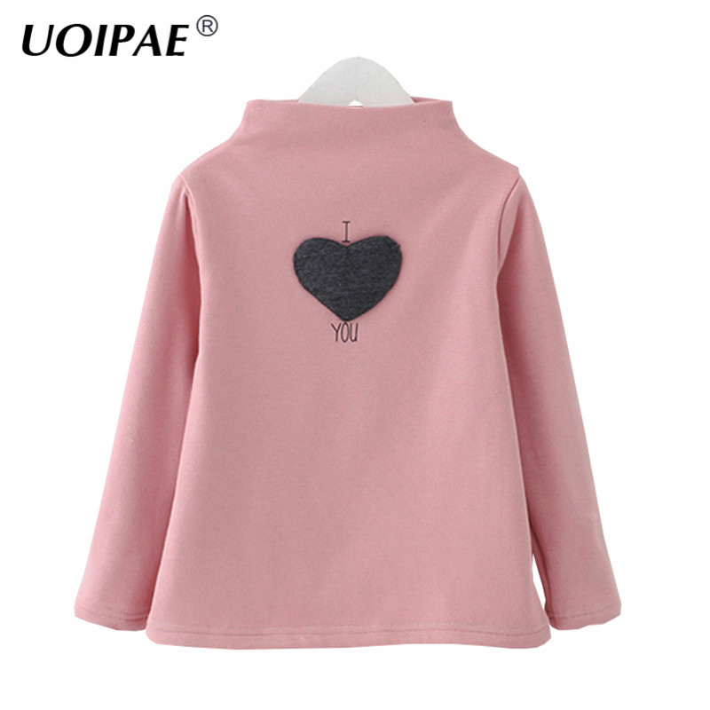 Kids Girl T Shirt 2018 Winter Fashion Love Pattern Children T Shirt Long Sleeve Patch Plus Velvet Simple Baby Girl Clothes 4273W цена 2017