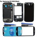 Preto Frente Outer Lente de Vidro Peças de Reposição Para Samsung Galaxy S3 I9300 Tampa da caixa completa + Ferramentas + Adesivo