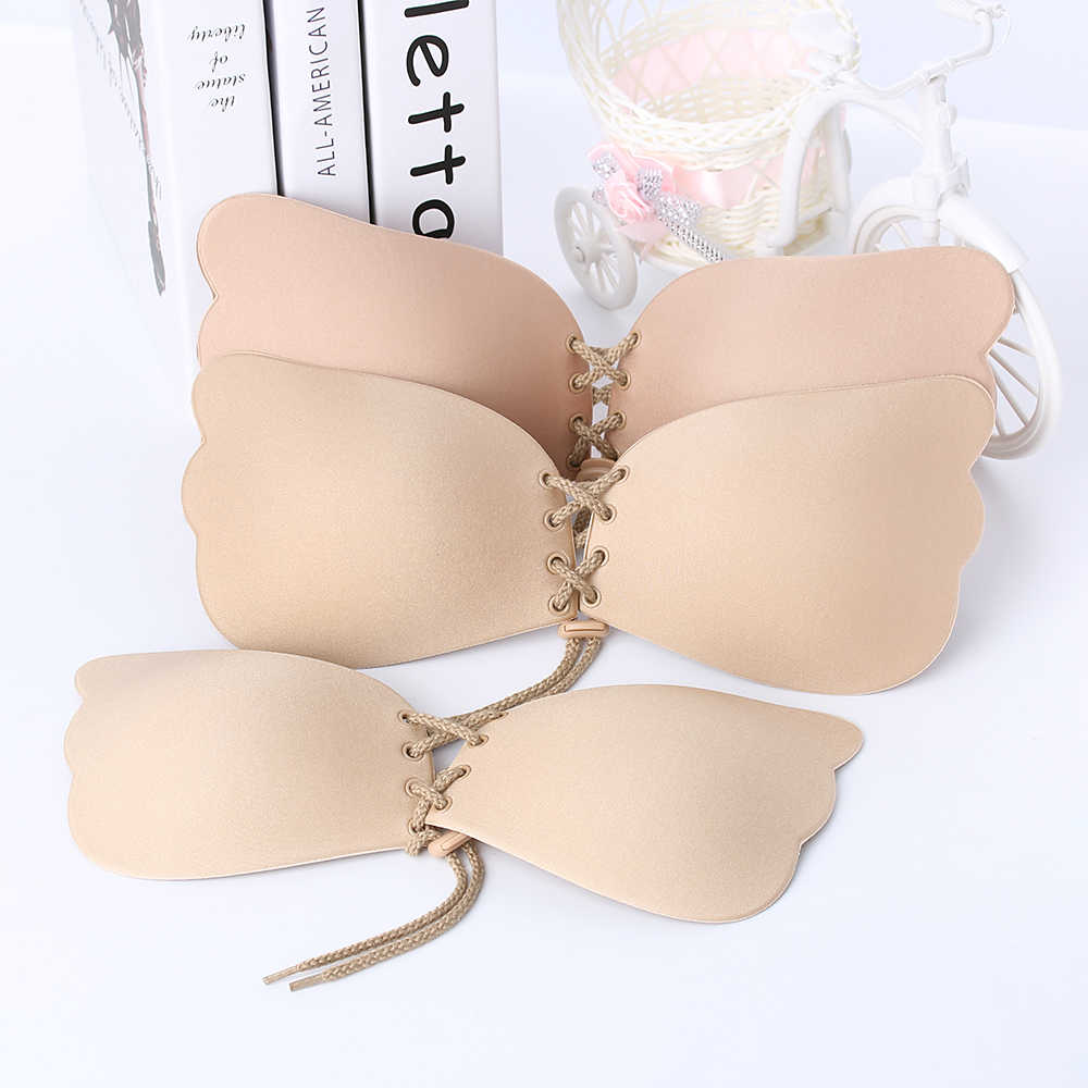 1pc Hot Women Self Adhesive Strapless Bra Bandage Blackless Solid Bra Stick Gel Silicone Push Up Women's Underwear Invisible Bra