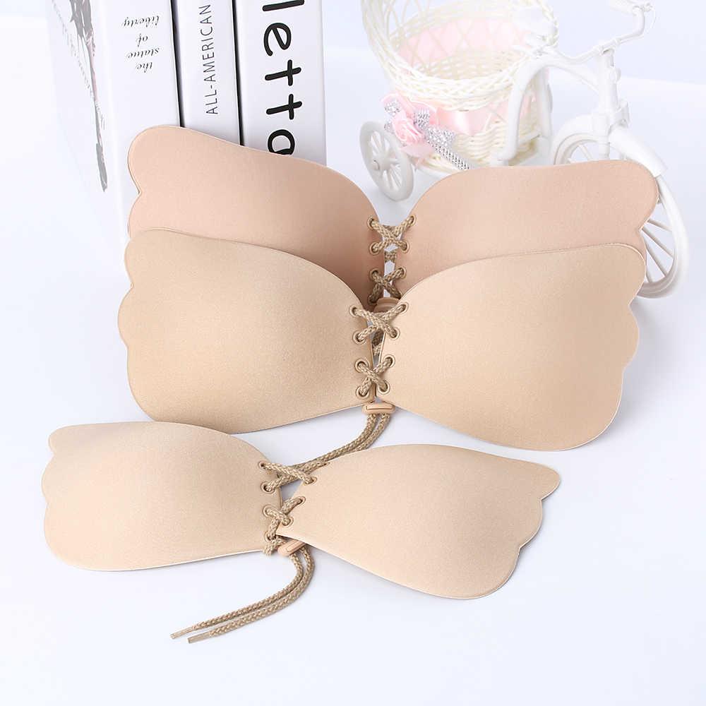 Hot Women Self Adhesive Strapless Bra Bandage Blackless Solid Bra Stick Gel Silicone Push Up women's underwear Invisible Bra