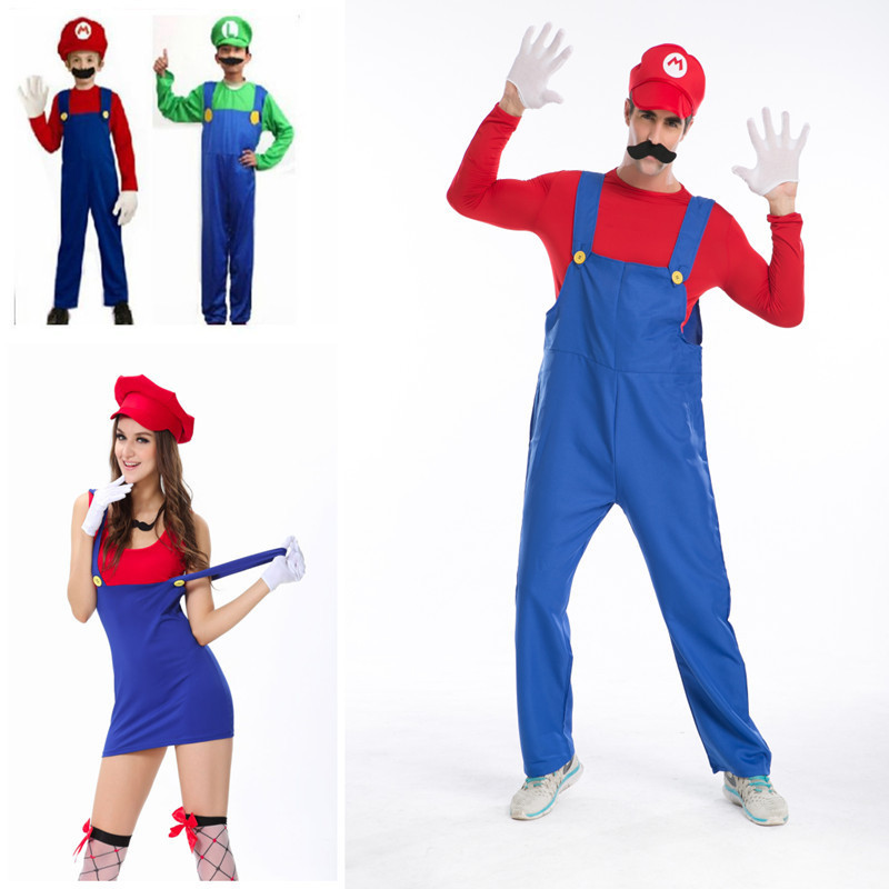 Halloween Costumes Funny Costume Super Mario Luigi Costume for Family Kids Child Mother Father Adult Women Men-in Menu0027s Costumes from Novelty u0026 Special Use ...  sc 1 st  AliExpress.com & Halloween Costumes Funny Costume Super Mario Luigi Costume for ...