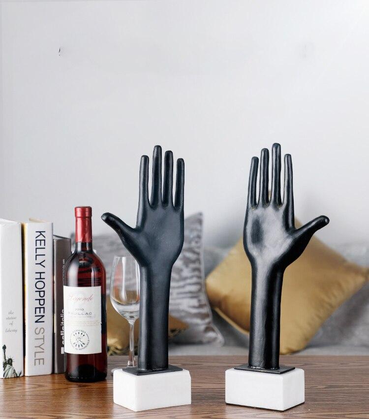 Украшение дома мода абстрактный черный металл левый и правый ладонь Статуэтка украшение мрамор Свадебные украшения Статуя Подарочная скул