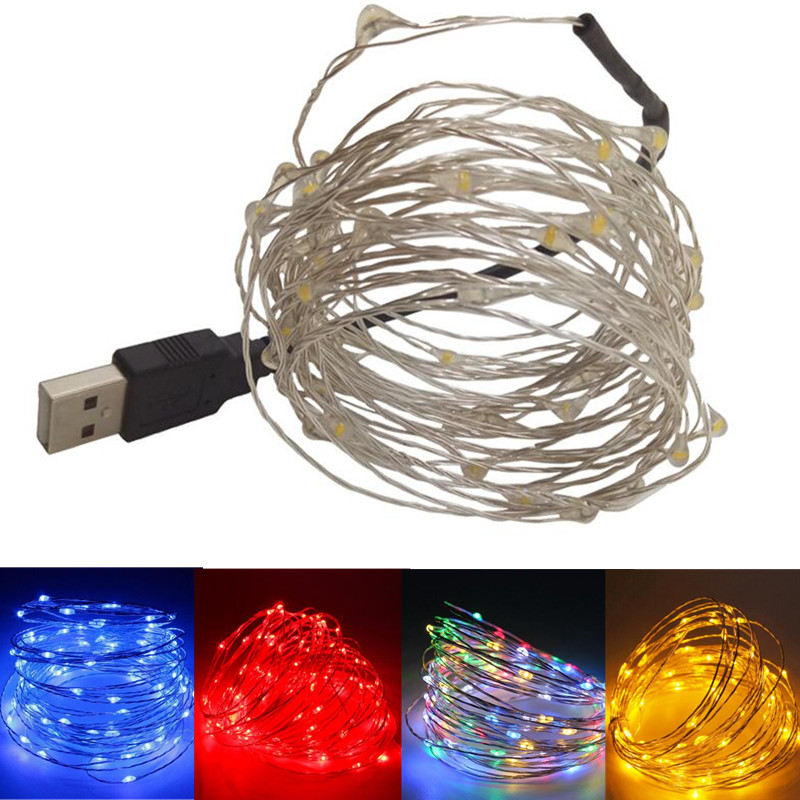 1Ppcs 5V USB LED String Light 10M Silver wire Waterproof Fairy LED Christmas Lights For Wedding Party Holiday Decoration