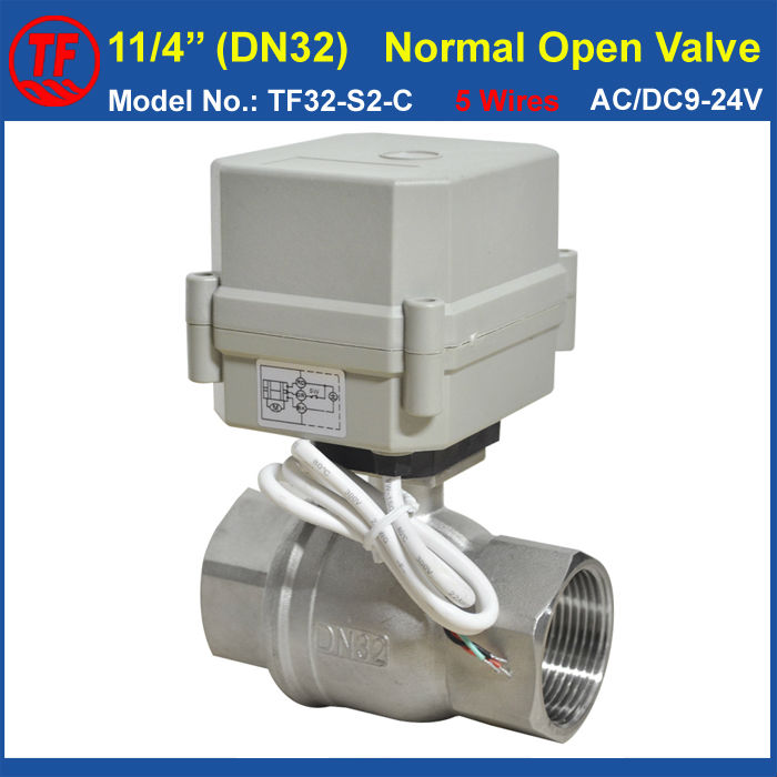 Stainless Steel DN32 Metal Gear Electric Normal Open Valve 10Nm AC/DC9-24V 5 Wires 2 Way BSP/NPT 1-1/4'' Actuator Valve tf15 s2 b dn15 stainless steel normal close open valve 2 5 wires bsp npt 1 2 ac dc9v 24v electric water valve