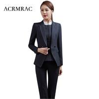 ACRMRAC Ms Long sleeves stripe Professional suits Formal wear OL Formal Pant Suits