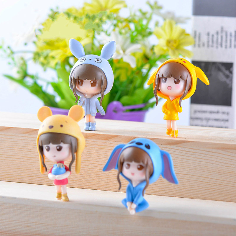 4pcs/set 4cm PVC Action Figures Toys for Children Girls Christmas Gifts Birthday Party Supplies Q Girls