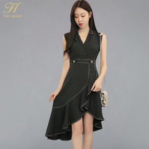 a1cdd7ed3f0 H Han Queen Sexy Striped Irregular Ruffles Mermaid Dress Women 2018 Autumn  New Fit And Flare Notched Neck Dresses Thin Vestidos