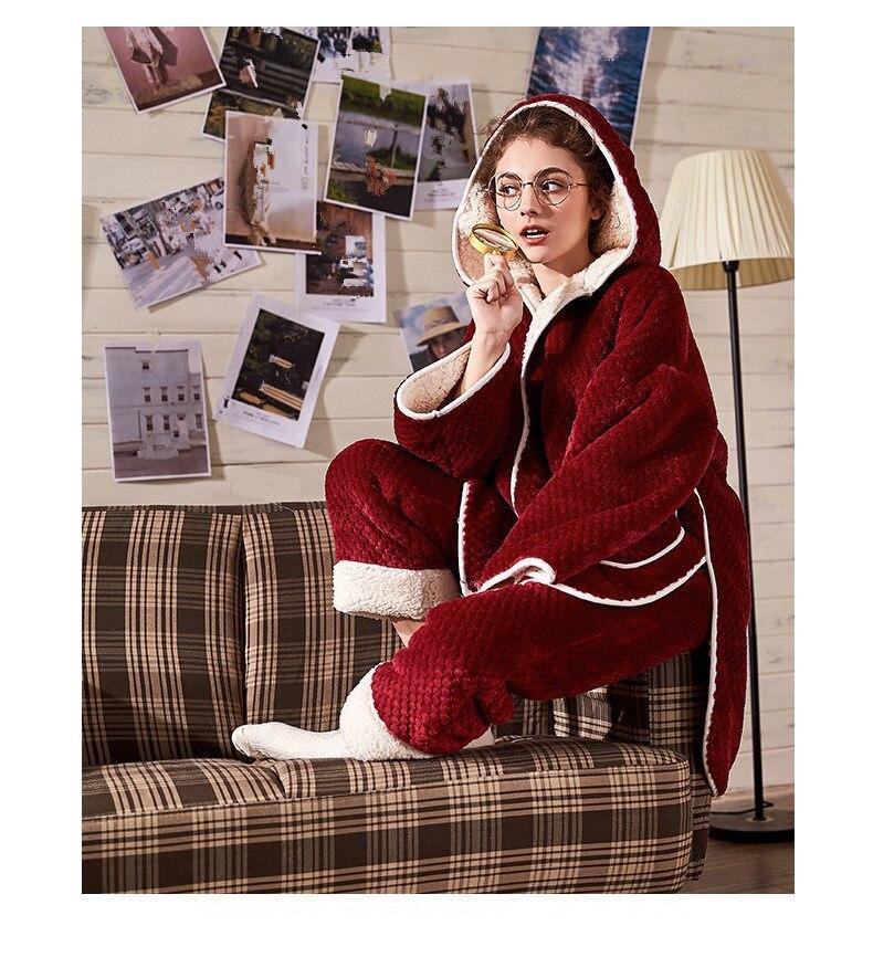 Conjuntos de pijama de flanela feminina de manga comprida calças terno quente coral veludo feminino terno sólido inverno moda com capuz pijamas - 5