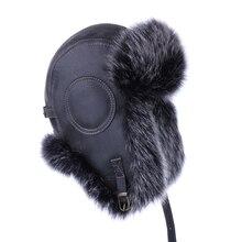 Sombrero de bombardero Vintage de piel de zorro de imitación ruso Ushanka  hombres de cuero de PU de invierno nieve esquí gorra d. 975e02647be