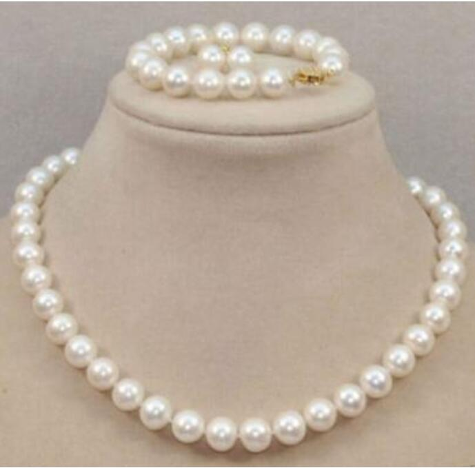 Bijoux nobles 10-11 MM 14 k/20 naturel mer du sud blanc perle BRACELET collier boucle d'oreille