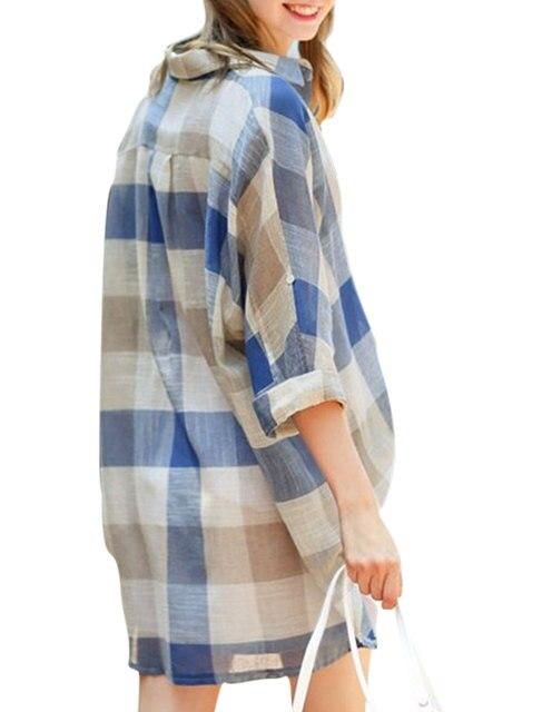 ALLEGRA K 1123 Woman Long Sleeve Plaid Single Breasted Tunic Shirt ...