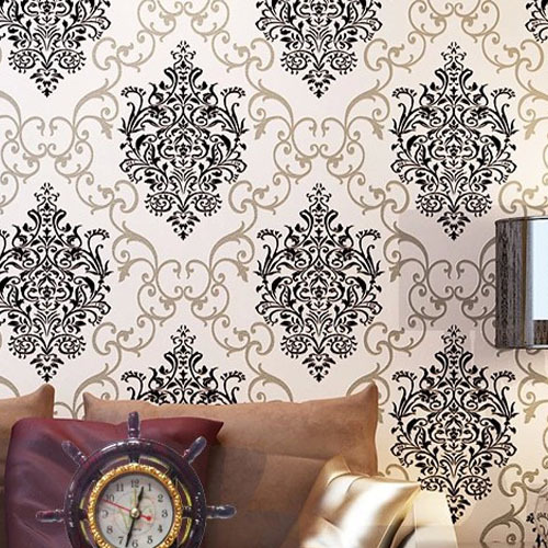DAMASK Wallpaper 3D Luxury WallCovering Euorpe Non-woven TV Sofa Living Room Home Decor Wall Paper Papel De Parede Roll Black 0 7m 8 4m luxury wall paper shining silver golden glitter non woven wallpaper rolls removable 3d panel papel de parede ab5192