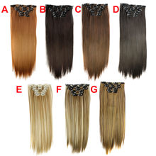 Factory price 6Pcs Full Head Natural Women 16 Clips Synthetic Straight Hair Extensions Wigs Stand May11 HW(China)