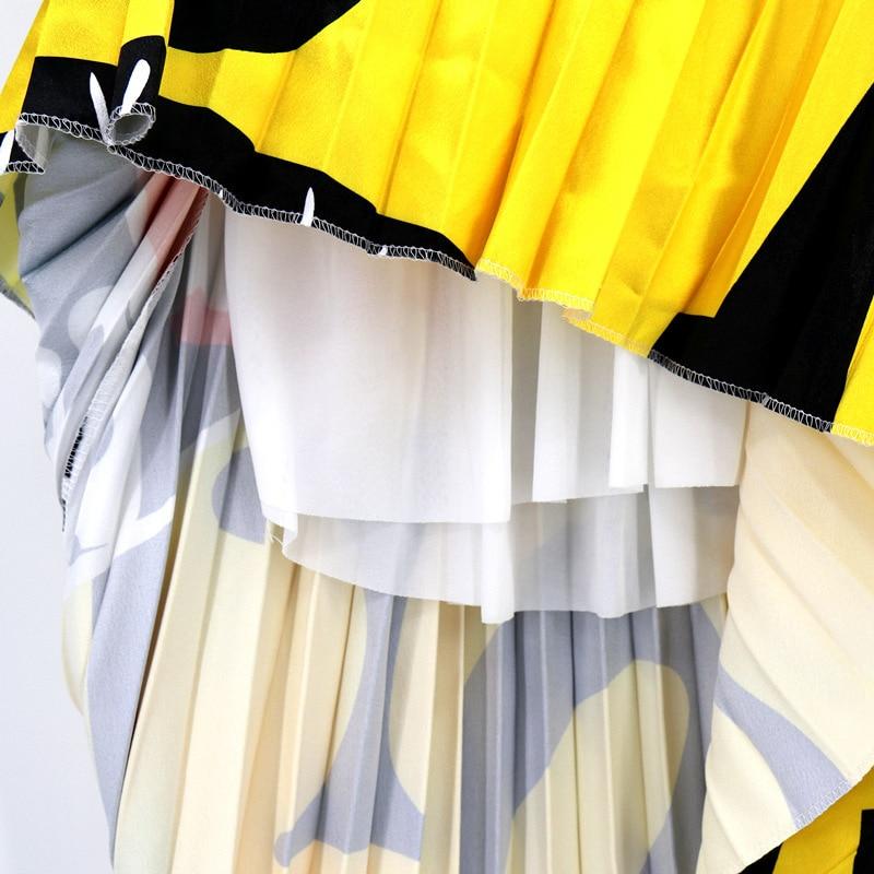 2020 Summer Newest Letter Print Long Skirt Women Irregular Stitching Color Skirt Lady High Waist Elastic A-Line Skirt ZQY832 5