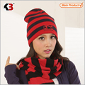 2016  Knitted Red & Black Stripe Winter Hats for Women Striped Beanies Hip-Hot Men's Skullies & Beanies
