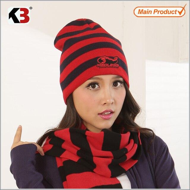 2016 Rojo y Negro de La Raya de Punto Sombreros de Invierno para Las Mujeres Rayas Gorros Hip-hombres Calientes Skullies y Gorritas Tejidas