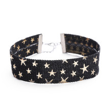 Denim Star Patterned Choker
