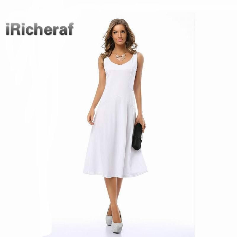 IRicheraf 2017 Women Vintage A Line Dresses Fashion Solid V Neck Sleeveless Office Lady One Piece