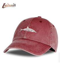 2018 Top Fashion Washed Baseball Cap Men Pink Shark Embroidery Dad Hat for Women gorras planas snapback Golf bosco sport(China)