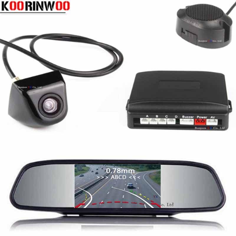 Koorinwoo Parktronic HD Mirror Monitor Dynamic Trajectory Car Parking Sensor 4 Radars Probes Car Rearview Camera