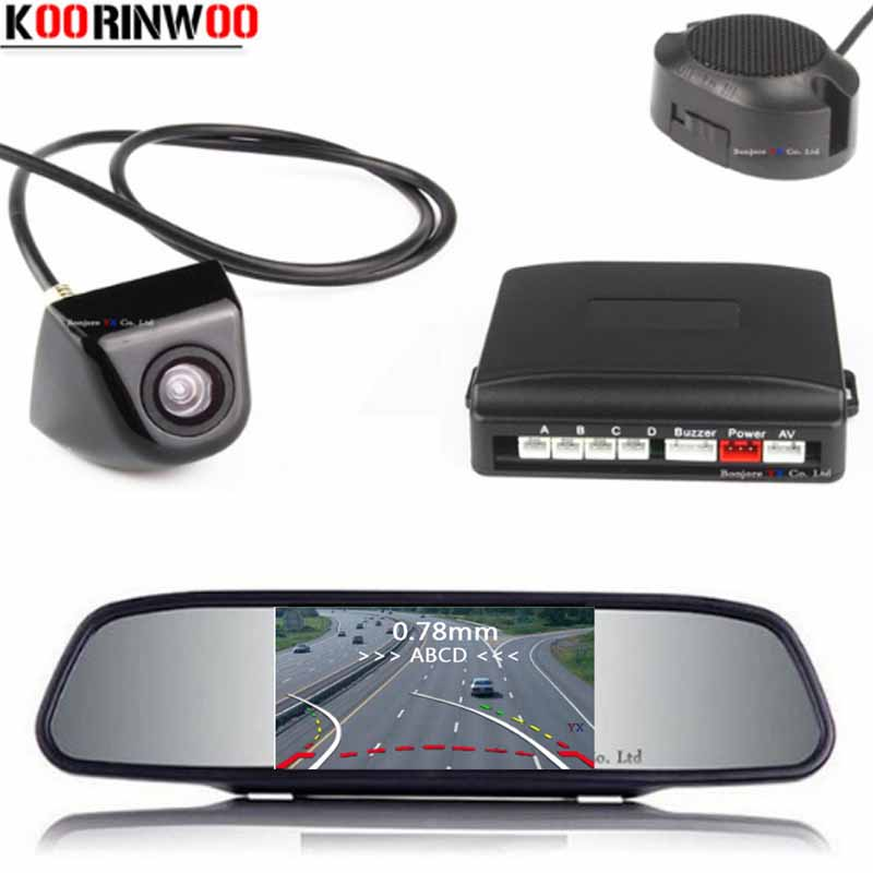 Koorinwoo Parktronic HD Mirror Monitor Dynamic Trajectory Car Parking Sensor 4 Radars Probes Car Rearview Camera Jalousie 2019