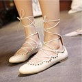 New Rome Style Women's Lace Up Perforations Puttee Synthetic Leather Flat Wedges Casual Loafers Flats Shoes White Black 35-40