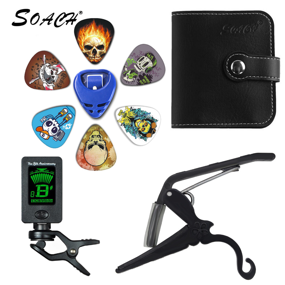 SOACH 2018 NEW Super Value Tool Kit Guitar Tuner + Capo + Plectrum Holder + PU Bag + 6 Colors Picks Guitarra Parts Accessories ...