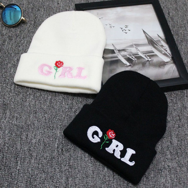 2017 new fashion winter Women Girl Rose Embroidered Beanie Stocking Cap  Hiking Cuffed Knit Hat femme womens winter hat 6acec95fe98