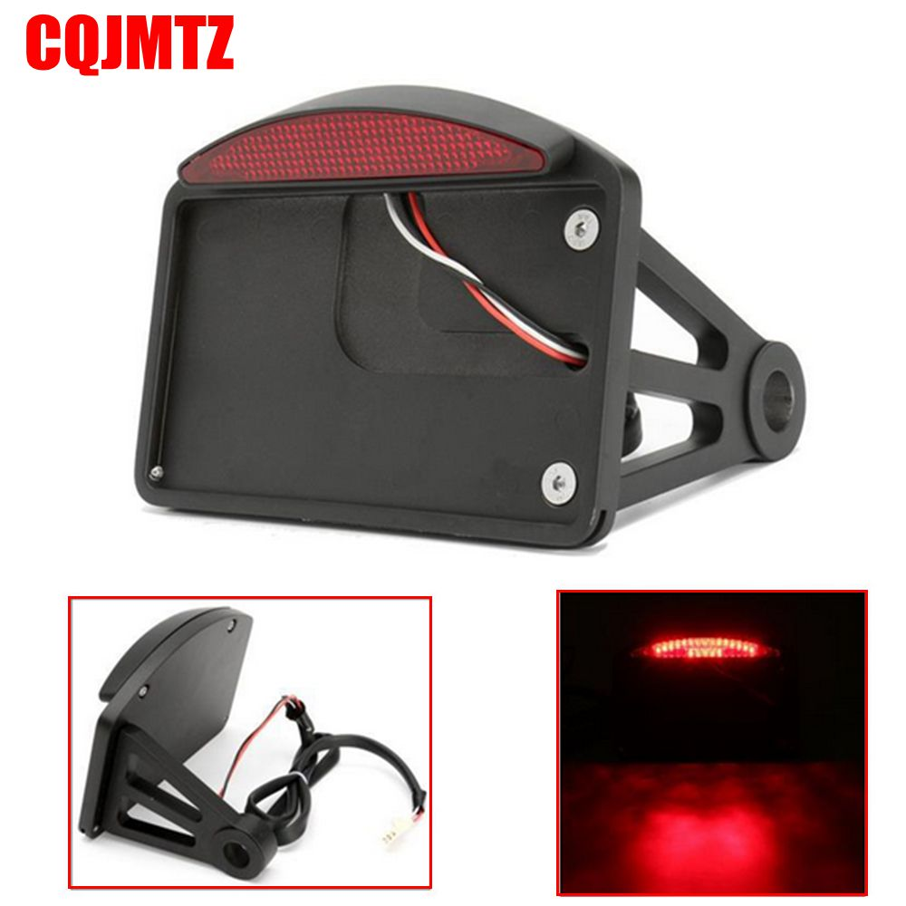 Black Motorcycle License Plate LED Tail Light Horizontal Side Mount Bracket For Harley