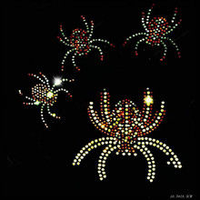 NEW chest Spider 10piece/lot Hot Fix Rhinestones motif crystal Heat Transfer design iron on clothes T Shirt dance dress T-166