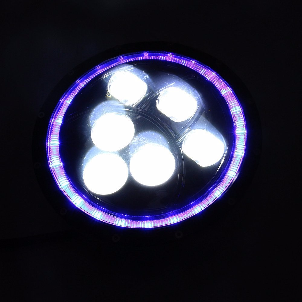 Online eye color changer - 1pcs 7 60w Led Blue Angel Eyes Halo High Low Beams Drl Led Headlights Led Driving Lights For Motorcycle Jeep Wrangler