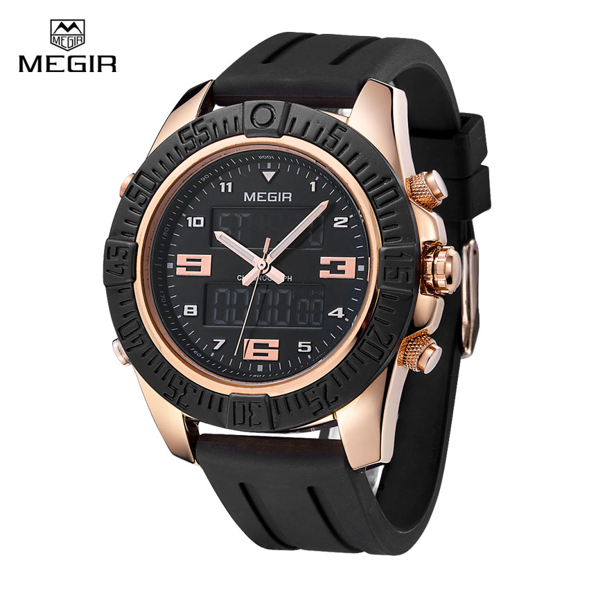 Megir Luxury Watch Men Famous Brand Mens Watches Black Silicone Strap Sports Backlight Digital Quartz Alarm