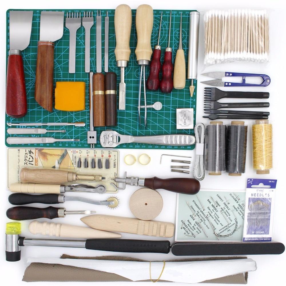 Leather Tool Set Carving Punching Hole Cutting Knife Suture Needle Gas Eyes Burnish Manual Peeling Edge Process for Leather Belt