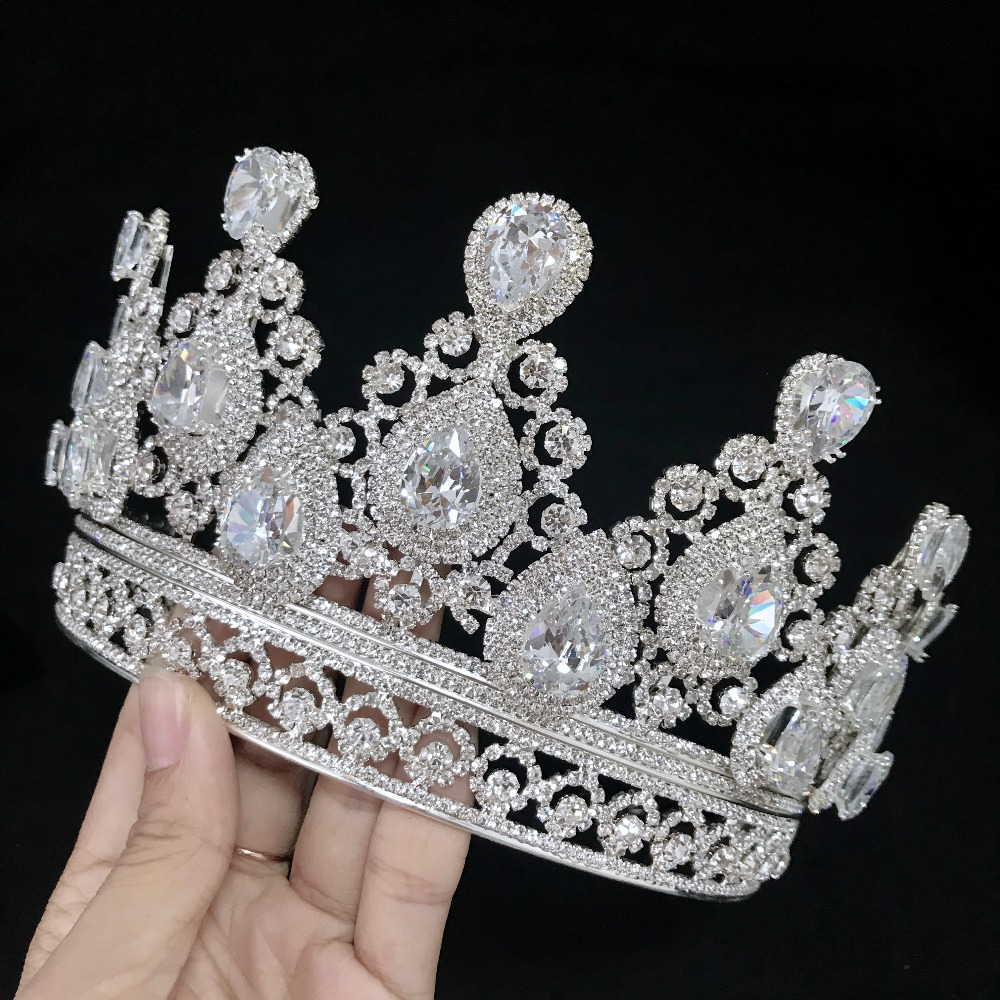 Free DHL Luxury A Zircon Crown Tiara Silver Gold Bigger Crown Rhinestones Royal Queen Princess Pageant
