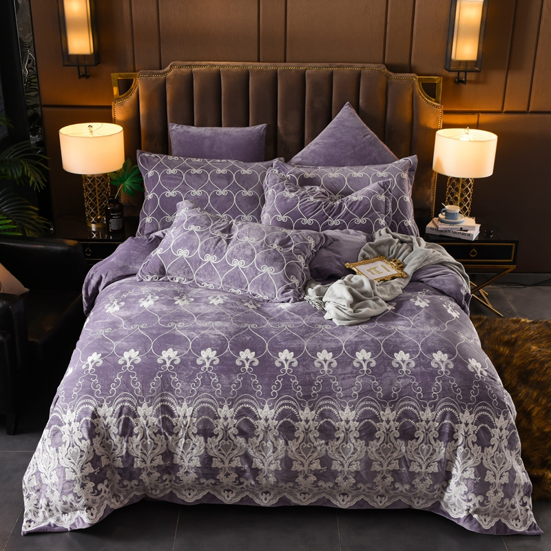 Luxury European Style Embroidery Winter Thick Velvet Flannel Bedding Set Purple Blue Red Duvet Cover Bed Linen/sheet Pillowcases