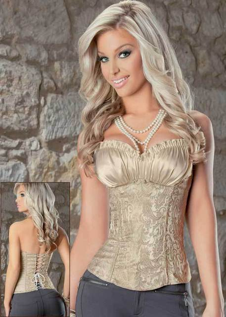 hot overbust waist corsets slimming 2017 women sexy Creamy Lvory Renaissance Corset Top Bustier LC5242 corpete corselet